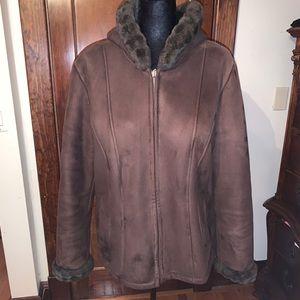 faux chocolate shearling coat